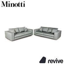 Minotti Hamilton Stoff Sofa Garnitur Grün 2xZweisitzer