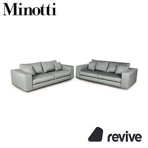 Minotti Hamilton Fabric Sofa Set Green 2xZweisitzer