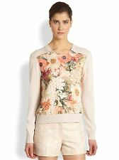 Tory Burch Garden Party Floral Printed Pullover Sweater XS 0 2 4 NWT