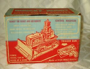 """RARE- ORG-IDEAL TOY- ROBERT THE ROBOT MECHANICAL BULLDOZER BOX ONLY-10""""-SPACE"""