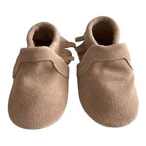 NWOT Little Love Bug Lot Soft  Soled Moccasin Beige, Sz 4 Toddler Leather Shoes