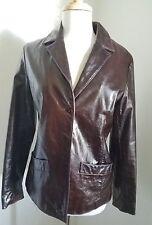 AQUA BROWN CHOCOLATE 100%  Leather BLAZER Jacket Coat MEDIUM SNAP BUTTONS