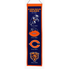 "Chicago Bears 32"" Embroidered Genuine Wool Heritage Banner NWT NFL"