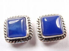 Chalcedony Square 925 Sterling Silver Stud Earrings with Rope Style Accents