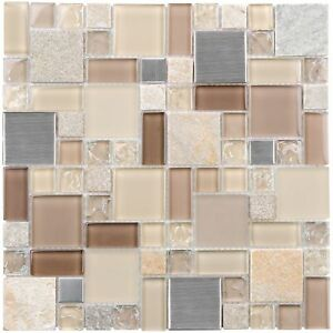 Classic Rectangles Beige Brown Grey Glass Stone Mosaic Tile Backsplash MTO0205