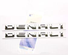 2x OEM Chrome Denali Nameplate EMBLEMs badges GM Yukon Sierra Terrain Genuine