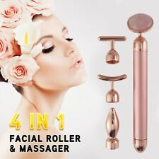 Electric Natural Rose Quartz Jade Roller 4 in 1 Facial Anti-aging Massager Bar