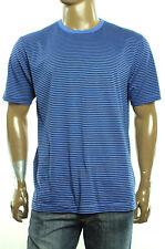 New Mens Club Room Crew Neck Pacific Blue Stripe Short Sleeve T Shirt Tee XXL
