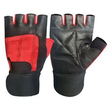 Fitness gym training weight lifting body building long strap leather gloves 202