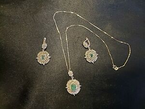 STUNNING DESIGN-Genuine Emerald and CZ Necklace and Earring Set-See Description