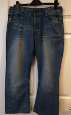BENCH Mens Jeans Bootcut Size 32 Waist 30 Leg Button Fly Faded Blue