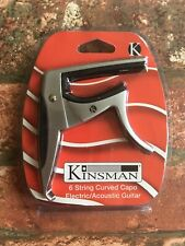 Kinsman Curved Silver Guitar Capo for Electric and Acoustic Guitars