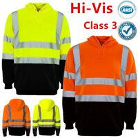 Hi Vis ANSI Class 3 Safety Hooded Sweatshirt Pullover Fleece Hoodie Black Bottom