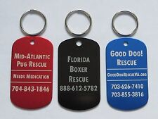 100 Pet Rescue Tags for Cats and Dogs - STANDARD Quality - Free Custom Engraving