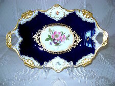 "12"" #660 Vg German AK KAISER ROYAL HP Cobalt Blue Porcelan Floral Oval Bowl Dish"