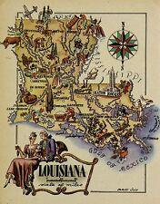 Louisiana Antique Vintage Pictorial Map