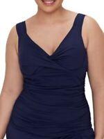 Anne Cole NAVY Plus Size Twist Front Underwire Tankini Swim Top, US 18W