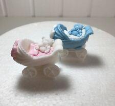 1 Edible Sugarpaste BABY PRAM  Cupcake Toppers- christening- baby shower