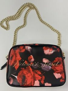 VIctorias Secret Crossbody Purse Bag Gold Chain Black Red Roses NEW WITH TAGS