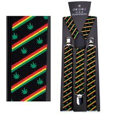 NEW PUNK GOTH CLIP ON Y-SHAPE SUSPENDERS ~ RASTA MARIJUANA POT LEAVES #SP116