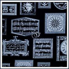 BonEful Fabric FQ Cotton Music Zen Piano Lg Frame Art Sun Letter Clock B&W Quilt