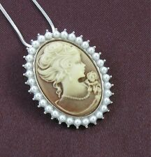 Pearl Like Brown Design CAMEO Necklace Chain Pendant Silv Antique Vintage Style