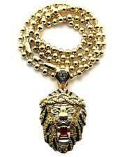 """ICED OUT BIG SEAN LION FACE PENDANT &6mm/36""""BALL CHAINHIP HOPNECKLACE -XZP1BC"""