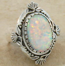 WHITE LAB OPAL ANTIQUE VICTORIAN DESIGN 925 STERLING SILVER RING SIZE 8, #222