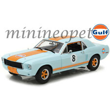 GREENLIGHT 12989 1967 FORD MUSTANG COUPE GULF OIL #8 1/18 DIECAST LIGHT BLUE