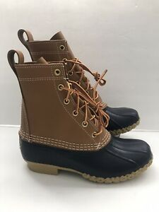 LL BEAN Leather Rubber Duck Rain Bean Boots Navy/Tan Womens Size 6 M 212880