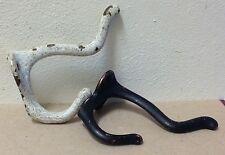 2 Iron NEW vintage style black & shabby white wall mount hooks coat hat hanger