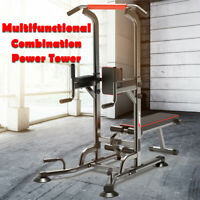 ❥Power Tower Dip Station Pull Up Bar Strength Training W/Dumbbell Bench xma Gift