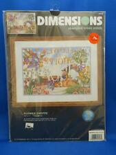 Dimensions FLOWER SHOPPE Stamped Cross Stitch Kit Cat Angel Tulips Roses Wreath
