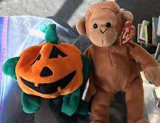 2 Ty Beanie Babies Baby Punkin' the Pumpkin & Bongo the Monkey Plush Animal