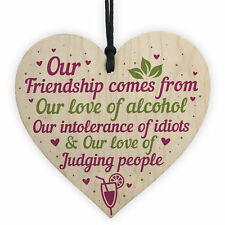 Alcohol Friendship Gift Wooden Heart Plaque Funny Best Friend Christmas Gifts
