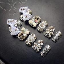 24pcs Wedding Designer Fake Nails with Pearls Rhinestones Decor Nail Tips