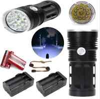 SKYRAY 28000LM 11x CREE XM-L T6 LED Flashlight Torch+4x 18650 Battery+2 Chargers