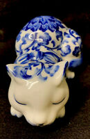 "Vintage Porcelain Blue and White Flowered Sleeping Cat by Andrea Sadek 6"" Euc"