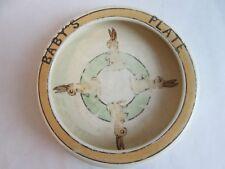 BABY'S PLATE BOWL! Vintage ROSEVILLE ART pottery: JUVENILE BUNNY pattern: LOVELY