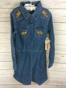 Wallflower Girl 6x Girl Dress Blue Denim NWT Long Sleeve Embroidery Western