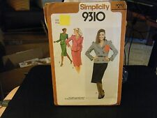 Simplicity 9310 Lined Fitted Jacket & Slim Skirt Pattern - Size 12 Bust 34