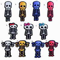 #2030 CUTE Skull Skeleton Biker Rock Goth Emo BOW Embroidered Sew Iron On  Patch