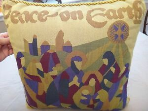 Free Shipping!  Peace on Earth Christmas Pillow - Gold Rope Piping - Beautiful!