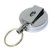Stainless Steel Retractable Key Chain Recoil Keyring Heavy Duty Split Keychain