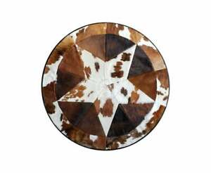 """Round Cowhide Rug Tricolor Single Star 60"""""""