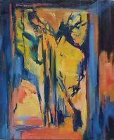 Peinture huile sur toile Paysage de Josette Zenatti (1930-2008) DEVANT LA PORTE