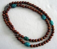 """SILPADA 36"""" TURQUOISE, WOOD & STERLING SILVER NECKLACE ~ N1355 ~ RET 2007"""