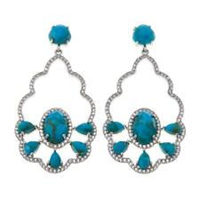 COLLEEN LOPEZ TURQUOISE & WHITE TOPAZ STERLING SILVER PIERCED EARRINGS HSN $249