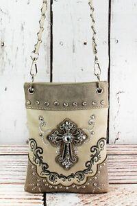 Western Cross Faux Leather Petite Cross Body Purse - Beige