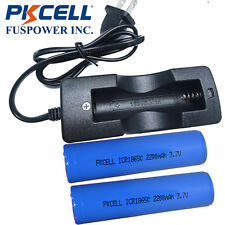 2x PKCELL ICR 18650 2200mAh Li-ion Rechargeable Battery + 3.7V 18650 Charger